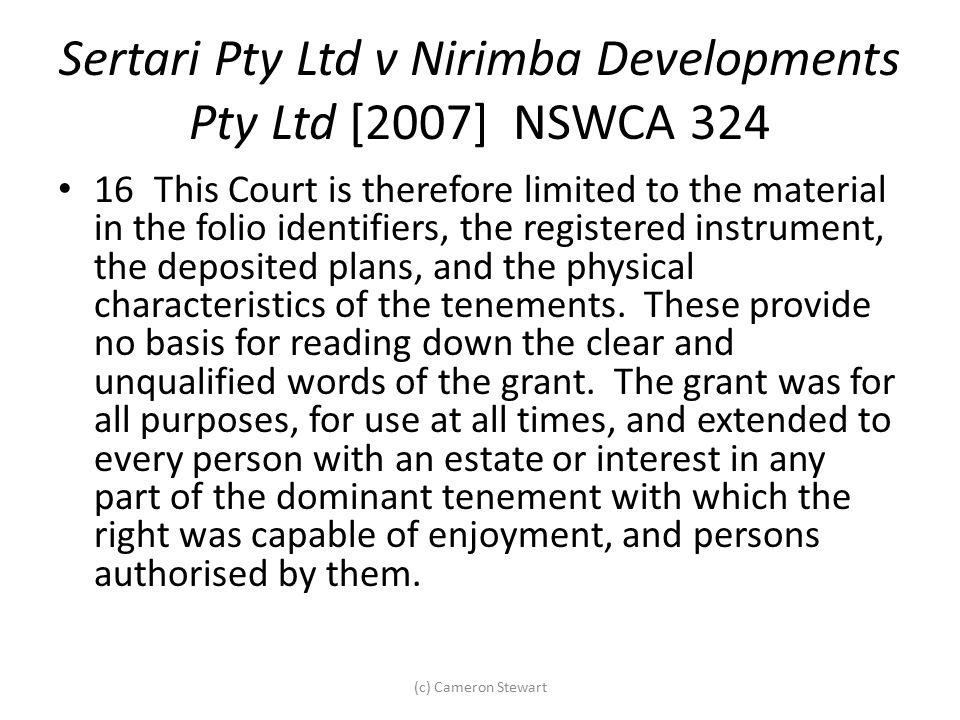 Sertari Pty Ltd v Nirimba Developments Pty Ltd [2007] NSWCA 324